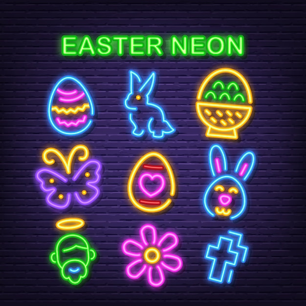 Easter neon icons Premium Vector