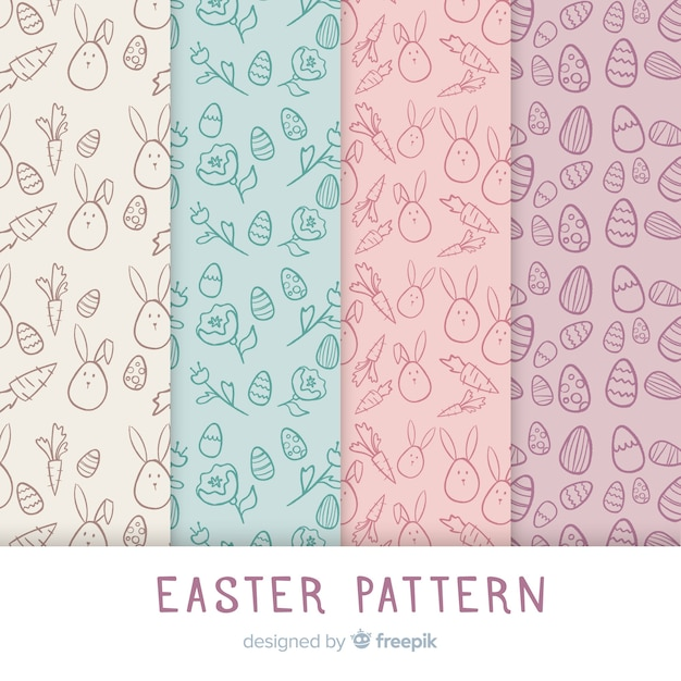 Easter pattern collection Free Vector