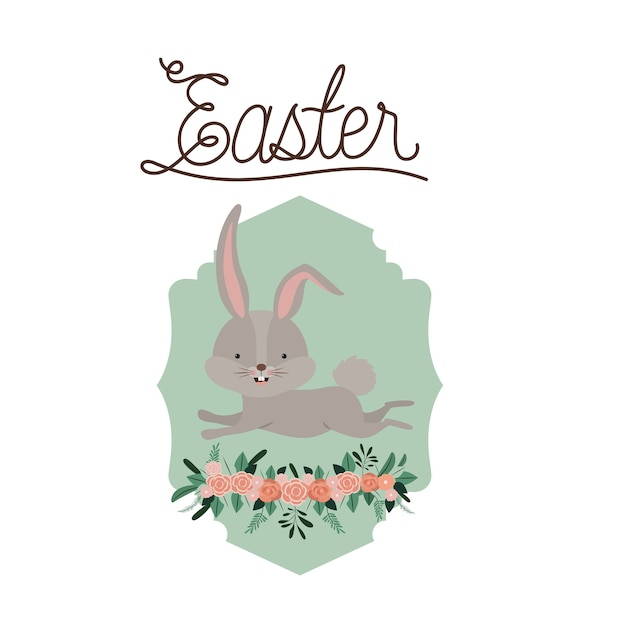 Easter poster with bunny in frame with ornament floral Vector ...
