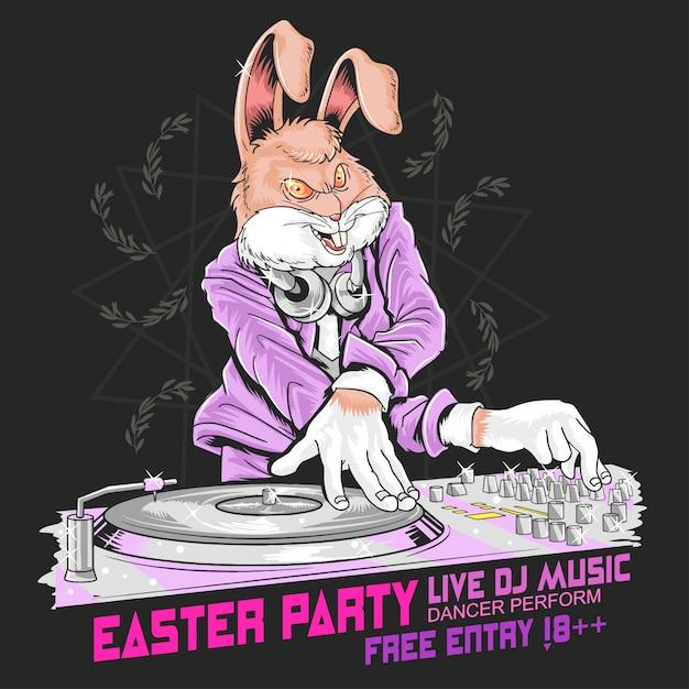 Easter rabbit dj party Premium Vector