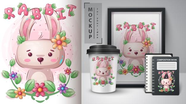 Easter rabbit merchandising Free Vector