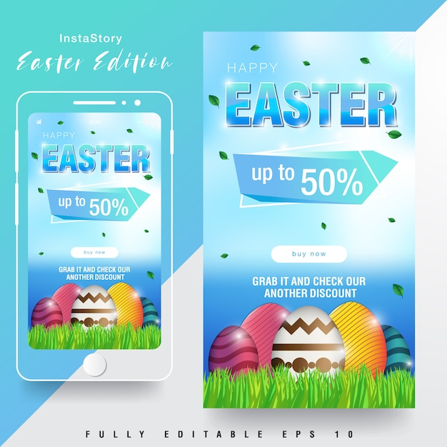 Easter sale instagram story template Premium Vector