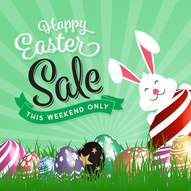 Easter Sale: Easter Sales Background With Rabbit Vector