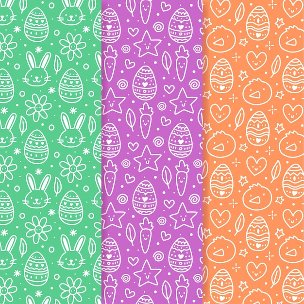 Easter seamless pattern hand drawn doodles Free Vector