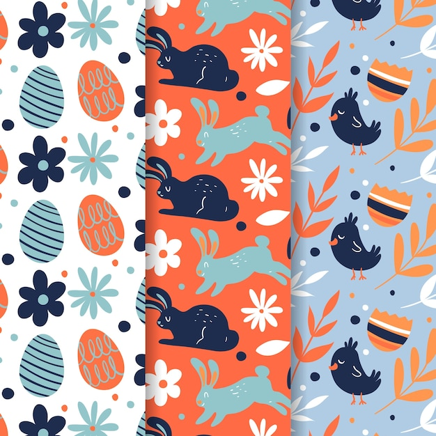 Easter seamless patternhand drawn with rabbits and eggs Free Vector