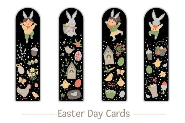 子供のためのブックマークのイースターセット。黒の背景にかわいいウサギと幸せな子供たち。休日をテーマにした垂直レイアウトカードテンプレート。子供のための文房具。 Premiumベクター