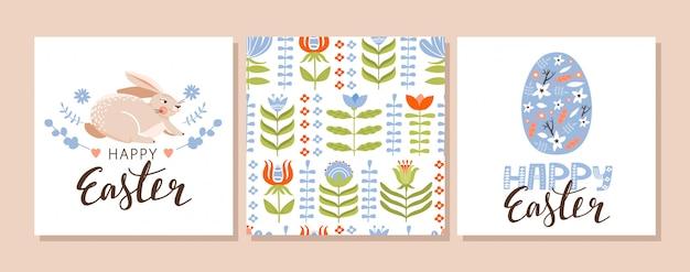 Пасхальный набор поздравительных открыток. Premium векторы