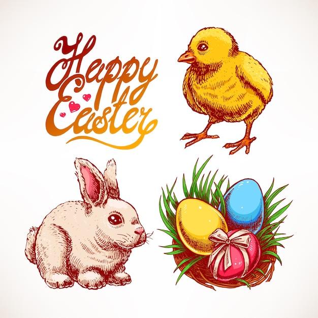 かわいいウサギ、鶏肉、色付きの卵の巣が付いたイースターセット。手描きイラスト Premiumベクター