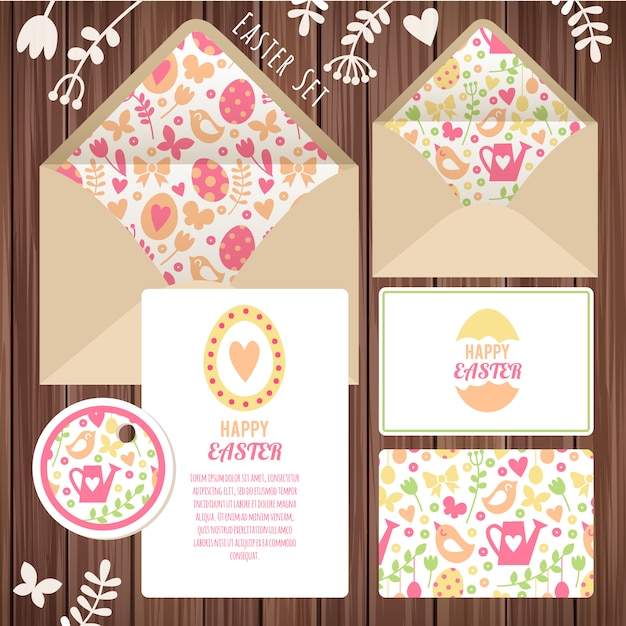 Easter stationery design Free Vector