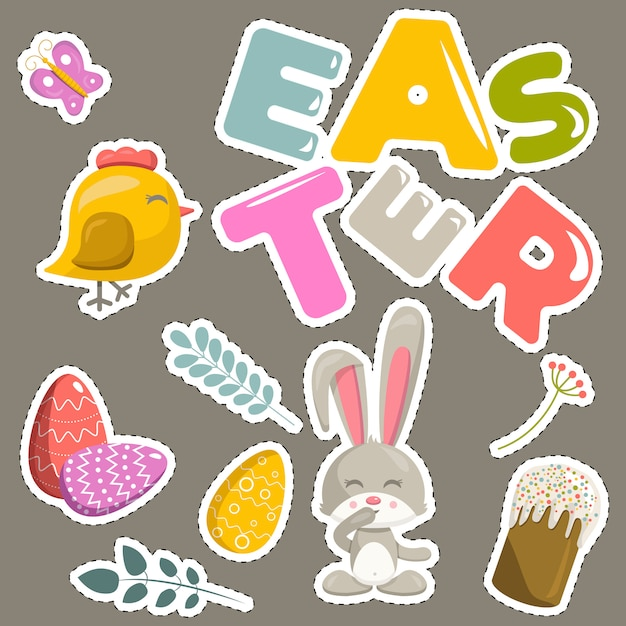 Easter stickers set Premium Vector