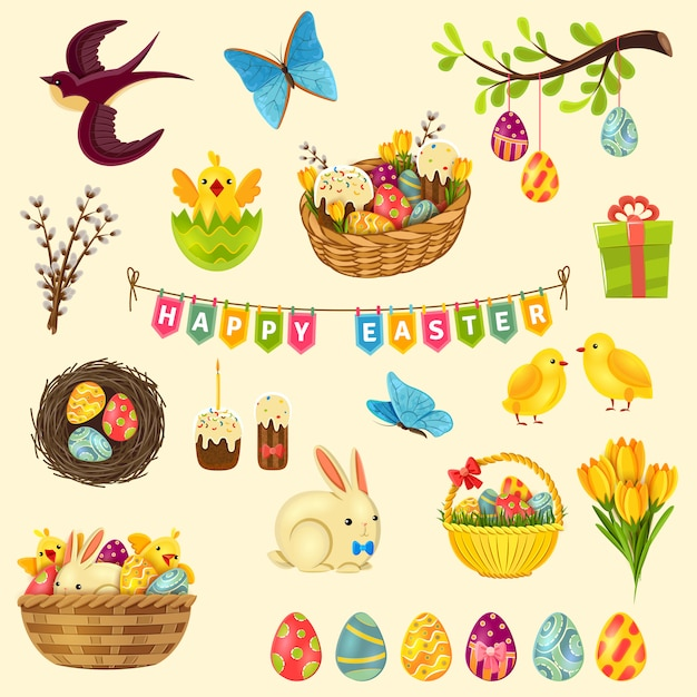 Easter symbols set Free Vector