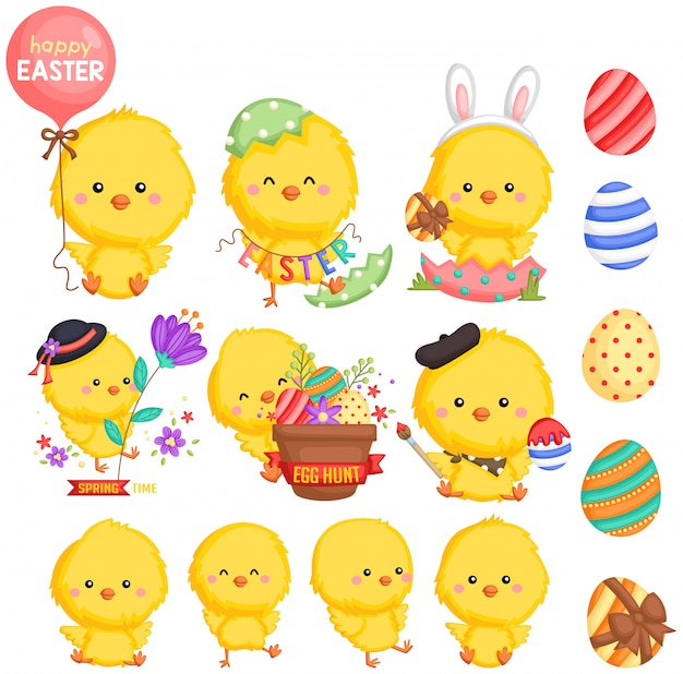 An easter theme chicken with many poses Premium Vector