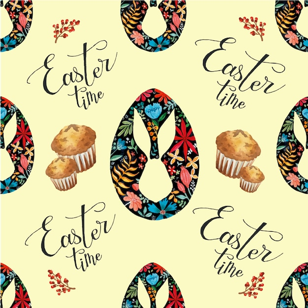 Easter time holiday seamless pattern watercolor eggs and muffins on light yellow background Premium Vector