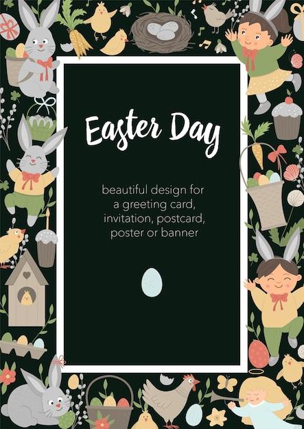 黒の背景にウサギ、卵、幸せな子供たちとイースター垂直レイアウトフレーム。 Premiumベクター