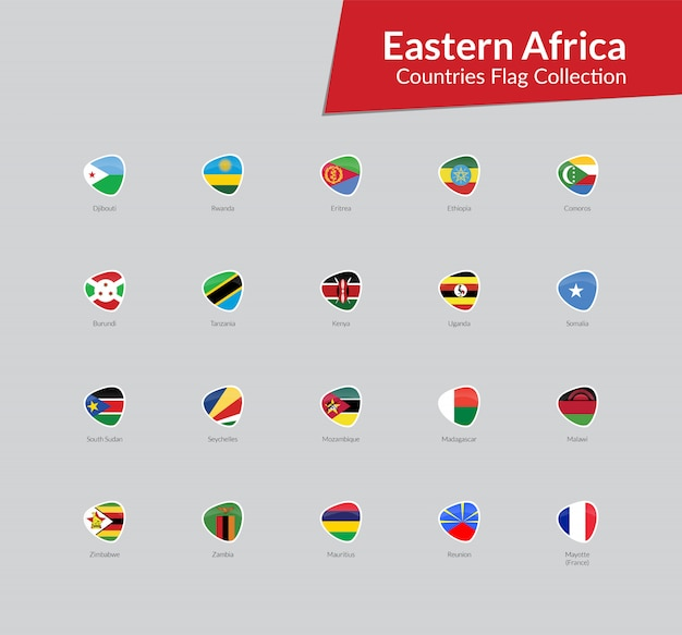 Eastern african flags icon collection Vector | Premium Download