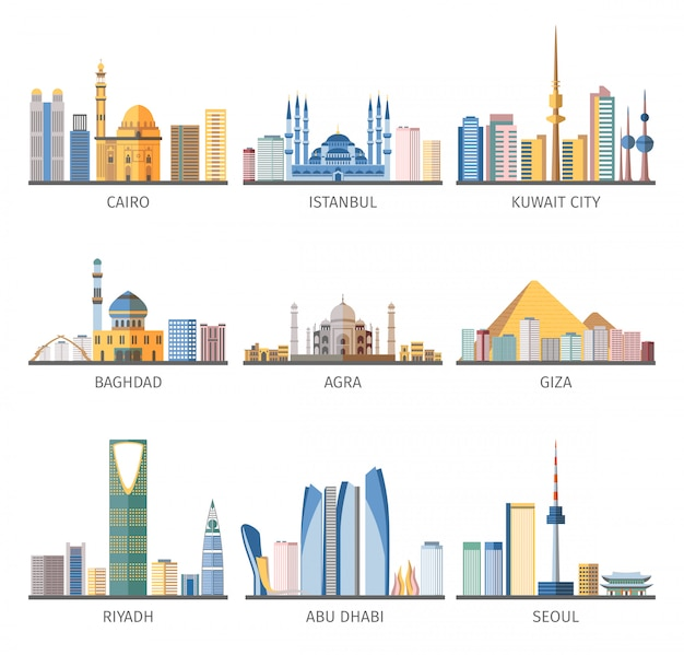 Eastern cityscapes landmarks flat icons collection Free Vector