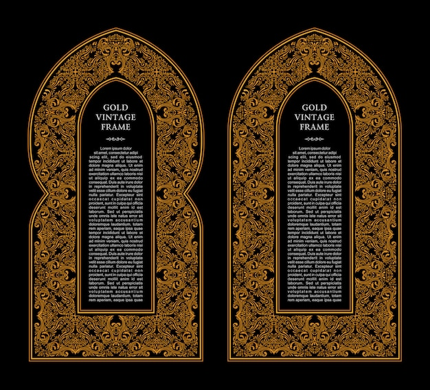 Eastern gold frames arch Premium Vector