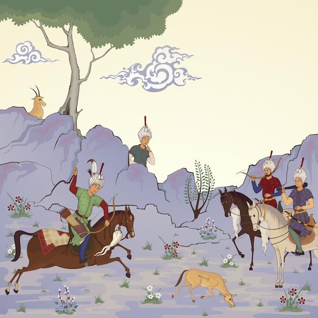 Eastern medieval. historical illustration. Premium Vector