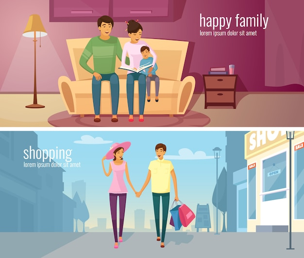 Eastern people two horizontal banners with young couple in modern home interior and outdoor Free Vector