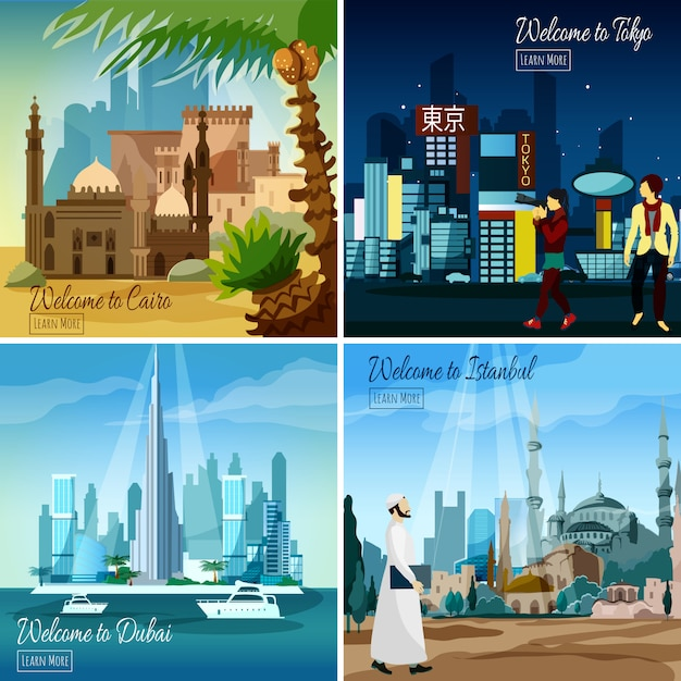 Eastern touristic cityscapes Free Vector