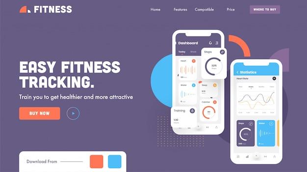 Целевая страница или герой снимок с приложением easy fitness tracking в смартфоне на фиолетовый. Premium векторы