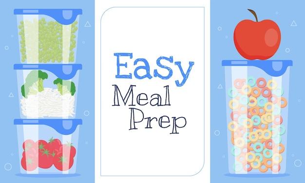 簡単な食事の準備水平テンプレート Premiumベクター