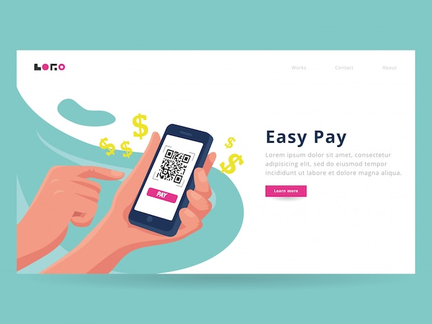 Easy pay landing page template Premium Vector