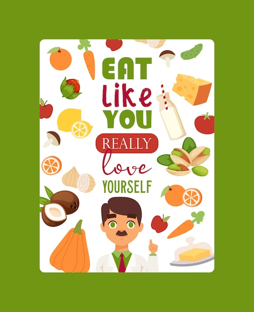 Eat like you really love yourself. lettering poster dietitian, doctor. obesity concept. healthy diet nutrition. Premium Vector
