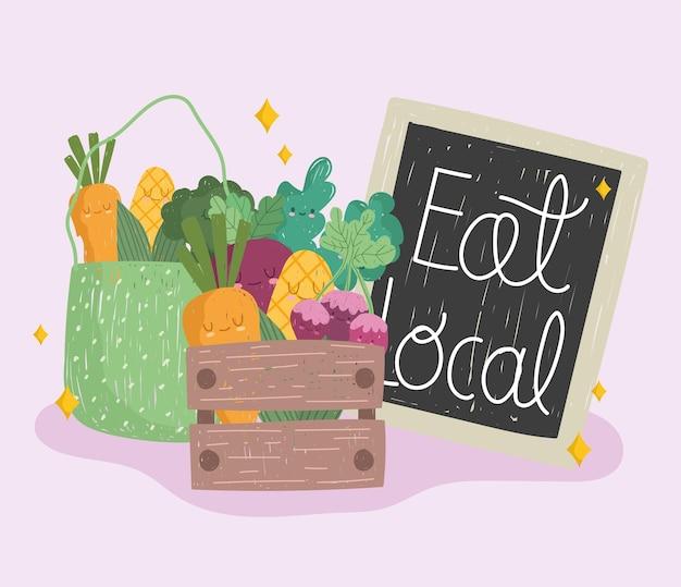 Ешьте местную доску, деревянную корзину и эко-сумку с овощами, свежие продукты, мультяшный векторная иллюстрация Premium векторы
