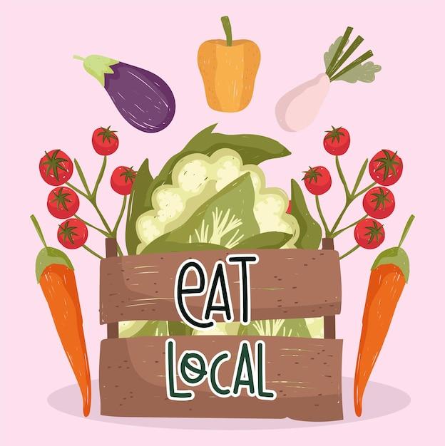 Ешьте местные свежие продукты овощи помидоры морковь баклажаны перец и цветную капусту в корзине векторные иллюстрации Premium векторы