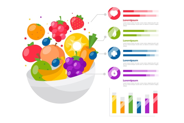 Eat a rainbow infographic template concept Free Vector