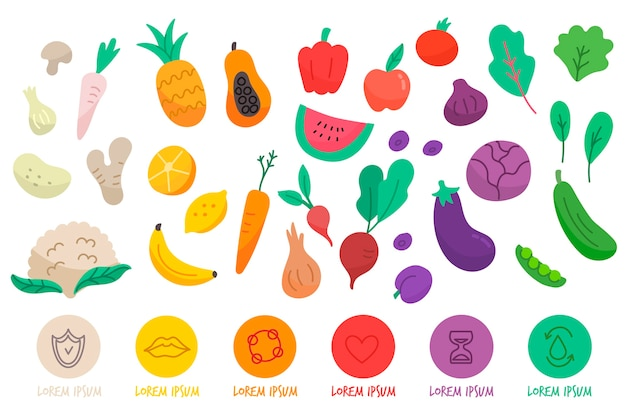 Eat a rainbow infographic Free Vector