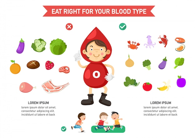 Eat right for your blood type infographic Premium Vector