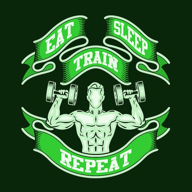 Eat sleep train repeat. Premium Vector