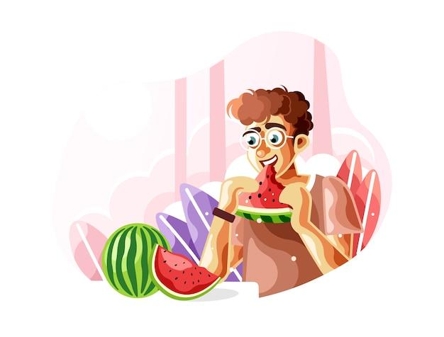 Eating a fresh watermelon when summer Premium Vector