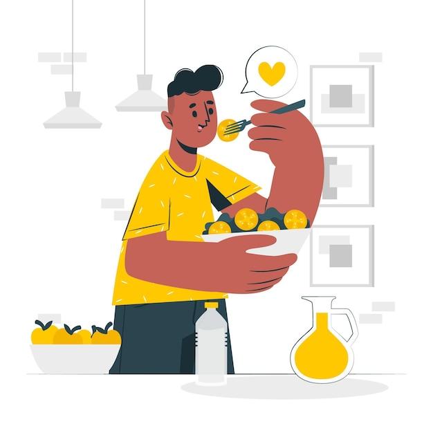 Mangiare sano concetto di cibo illustrazione Vettore gratuito