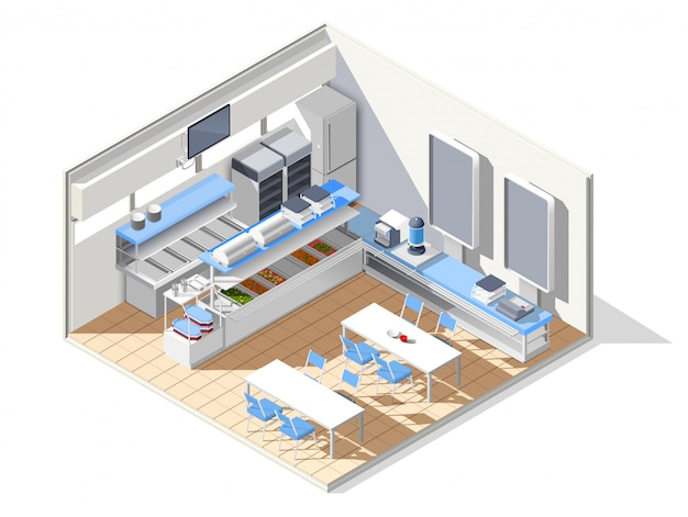 Eating house isometric composition Free Vector
