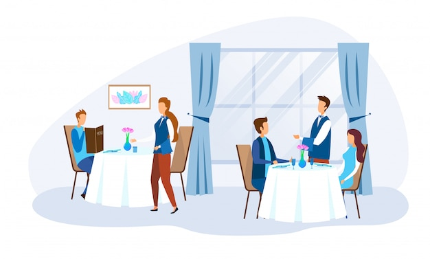 Eating people characters and restaurant staff Premium Vector