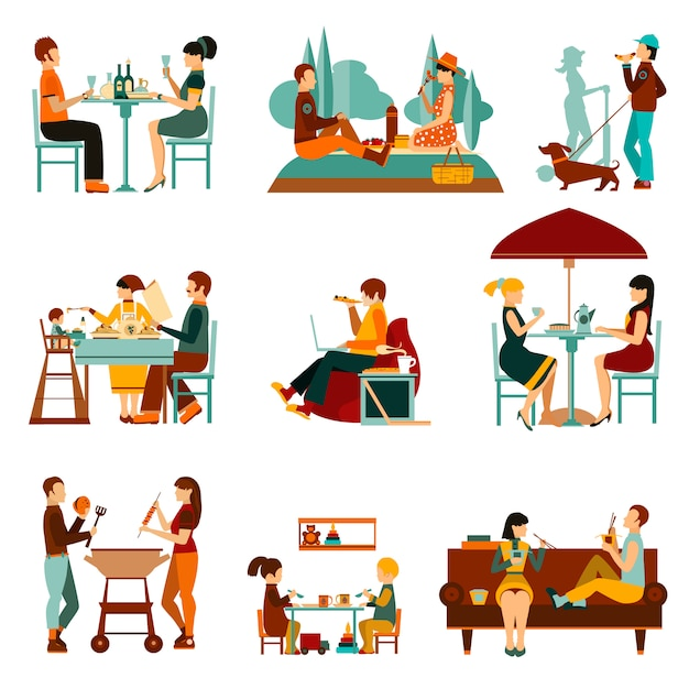 Eating people icons set Free Vector
