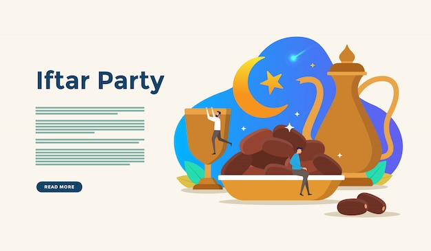 Eating together after fasting feast iftar party. moslem family dinner on ramadan kareem or eid celebrating with people character concept for web landing page template Premium Vector