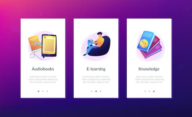 Шаблон интерфейса приложения ebook. Premium векторы
