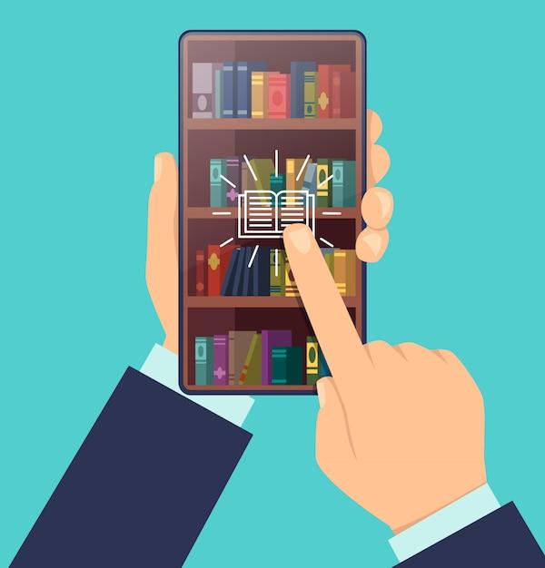 Книгу выбирай. книжные полки на экране смартфона smart education цифровые технологии для изучения концепции мультфильма Premium векторы