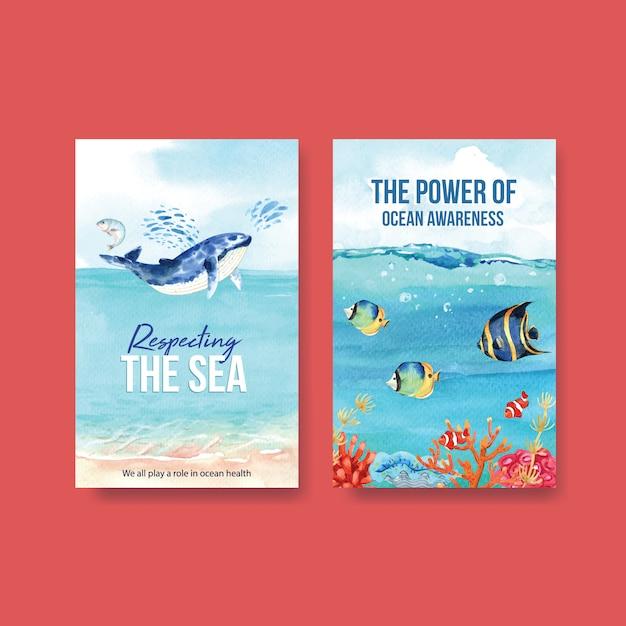 Дизайн шаблона ebook для концепции всемирного дня океанов с вектором акварели морских животных, китов и рыб Бесплатные векторы