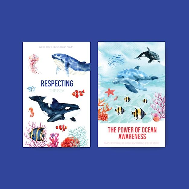 Шаблон ebook для концепции всемирного дня океанов с морскими животными, косатками, немо и дельфинами Бесплатные векторы