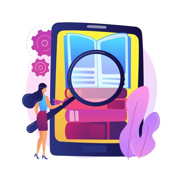 電子ブックコレクション。図書館のアーカイブ、電子書籍リーダー、文学。電子書籍リーダーで本を読み込んでいる男性の漫画のキャラクター。本棚の表紙に小説を入れる男。 無料ベクター