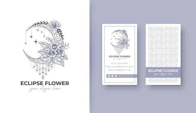 Potrait名刺と日食の花のロゴのデザイン Premiumベクター