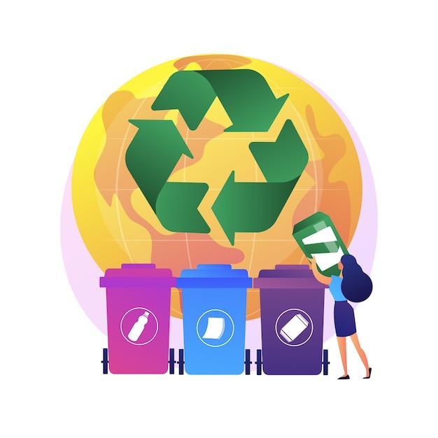ゴミを選別するエコ活動家。廃棄物の分別。使い捨てシステム。生態学的責任。ゴミ箱、ゴミ箱、リサイクルのアイデア。 無料ベクター