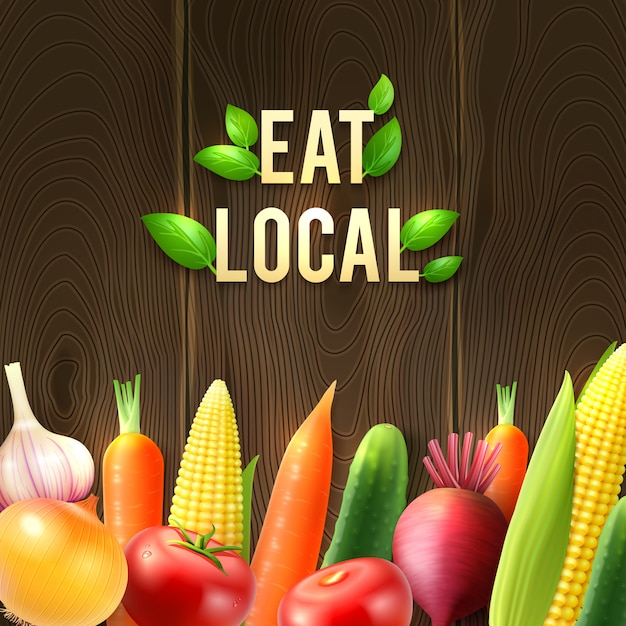 Eco agricultural vegetables poster Free Vector