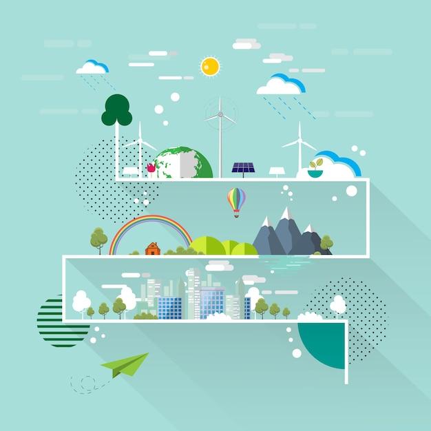 エコと自然のコンセプトフラットラインデザイン Premiumベクター