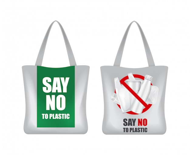 Eco bag. say no to plastic. zero waste. green eco earth. save the world Premium Vector